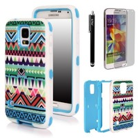 E LV Hybrid Dual Layer Armor Defender Full Body Protective Case Cover for Galaxy S5 i9600 with 1 Black Stylus, 1 Screen Protector and 1 E LV Microfiber Sticker Digital Cleaner - Tribal Green