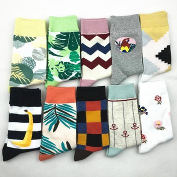 PEONFLY Fashion Colorful Printing Woman Socks Personality Stripe Banana Leaf Pattern Funny Socks casual Ventilation Cotton Socks