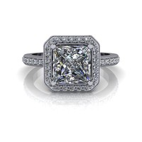 Celestial Premier Moissanite and Diamond Halo Engagement Ring - Customize Your Ring