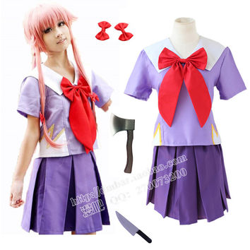 Women Halloween Anime Future Diary 2nd Mirai Nikki Yuno Gasai Costume Cosplay
