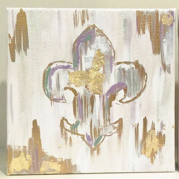 New Orleans Fleur de Lis Abstract Gold Leaf Painting on Canvas Block