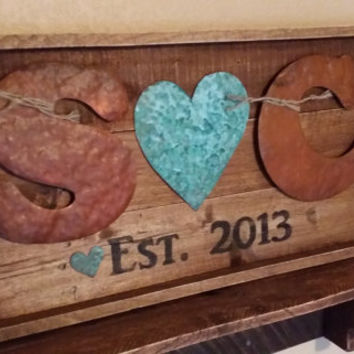 Reclaimed Wood Letter Sign, Established Sign, WEDDING DECOR, Gift, Custom Sign, Rusted Letters