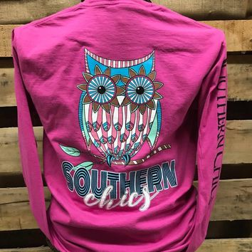 Southern Chics Owl Comfort Colors Girlie Bright Long Sleeve T Shirt