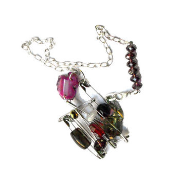 FOR HER Safety pins necklace Bib silver purple pink and red with agate - one of a kind - OOAK