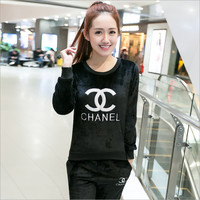 """CHANEL""Extra thick flannel padded PJS for winter pajamas (2 piece suit)"