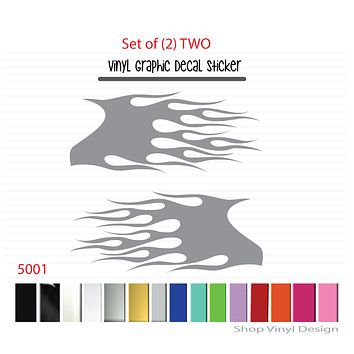 Flames Vinyl Graphic Decal Sticker  - STYLE F5001 - Set of (2)