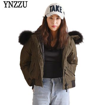 YNZZU Autumn Winter Womens Down Jackets Casual Army Green Fur Collar Hooded Warm Duck Down Coats Female Bomber Jackets YO344