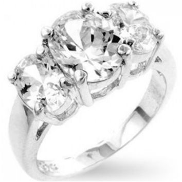 Jucinda Three Stone  Oval Cut Engagement Ring | 4 Carat | Cubic Zirconia