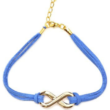 Infinity Loop Symbol Karma Bracelet BA06 Antique Gold Tone Blue Band Karma Fashion Jewelry