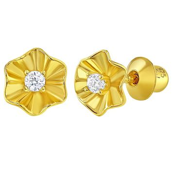 925 Sterling Silver Gold Flashed Clear CZ Tiny Flower Screw Back Earrings Girls