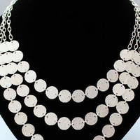 Silver Three-layered Wafer Necklace