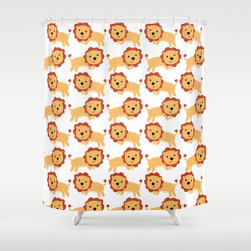Childs Lion Art Shower Curtain - Lots of LIons - Nursery Art - Bathroom Decor - Made to Order