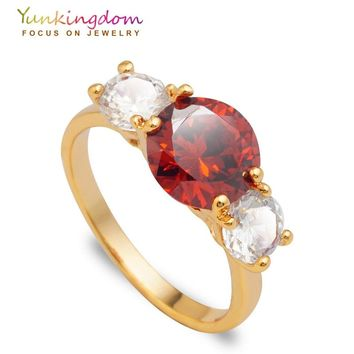 Yunkingdom Bride's Wedding Rings for women cubic zirconia jewelry Gold Color Anniversary ring 5 colors