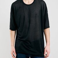 BLACK OVERSIZED FIT SHEER T-SHIRT