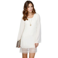 Fashion Women Chiffon Lace Shift Dress Crochet Hem Vestidos Long Sleeve Mini Dress Vestidos Femininos Femme Black/White