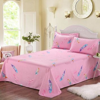 Polyester/Cotton Flat Sheet Feather Printing Twin/Full/Queen/King Size