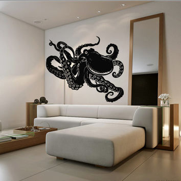 Wall decal decor decals art octopus tentacles animal sea ocean water bedroom design mural (m972)