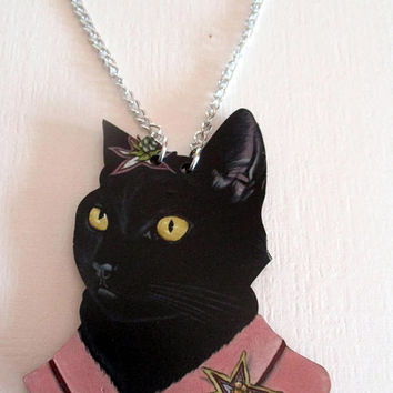Vintage Cat necklace - Kitty Cat- Cat lover gift- jewelry-antique necklace novelty- unique gift under 15