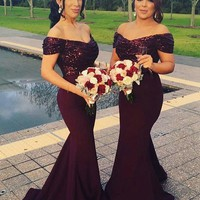 2017 South Africa Burgundy Long Bridesmaid Dresses V Neck Sparkling Sequins Top Ruffle Mermaid Formal Wedding Party Guest Dress