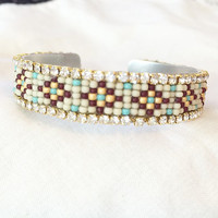 Tribal Rhinestone Cuff on Aluminum with Custom Pattern Loomed Beaded Bracelet Native American Inspired Turquoise Burgundy and Cream