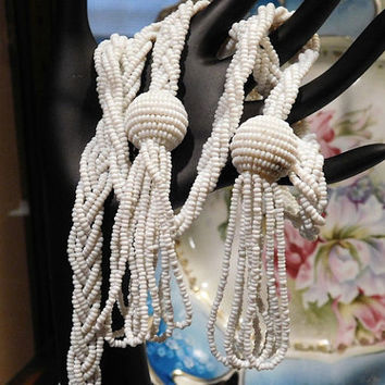 Art Deco Milk Glass Bead Crocheted Braided Sautoir Lariat Rope Length Necklace with Tassels 1920s 20s Antique Wedding Bride Bridal Jewelry