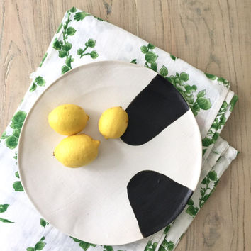 Ceramic Platter, Ceramic Serving Plate, Ceramic Dinnerware, Fruit Bowl, Stoneware Plate, Black And White Plate