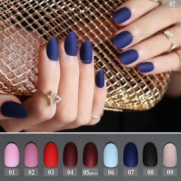 24pcs new matte false nails long round Soft Pink Nude color Red oval head Blue Frosted Fake nail Vampire Mint candy Purple Black