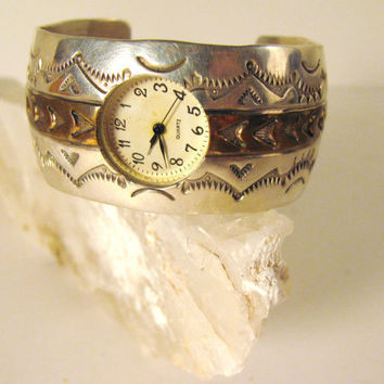 Vintage Silver Watch Bracelet Cuff Sterling by colorsoulartistry