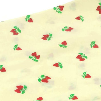 Vintage Yellow Strawberry Fabric, 2 Yards, Quilting, Sewing, Supplies, Material, Felt Strawberries, Strawberry Pattern, Retro Fruit Print