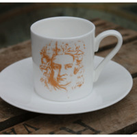Isaac Newton espresso cup and saucer