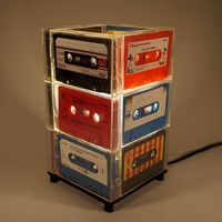 Table Lamp handcrafted from vintage colour cassette tapes.