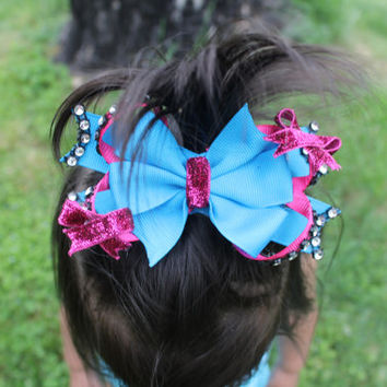 Two Tone- Boutique Pinwheel Layered Hairbow with  Rhinestone Accents available in many colors or custom picked