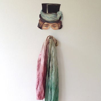 Hand dyed silk scarf - green ecru and plum - Autumn  party - head scarf -  grey - turban