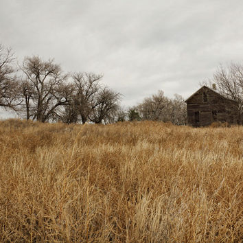 Rustic Country Farmhouse Photograph, Fall Prairie Landscape Photography, Wall Art Print, Brown & Gray | 'Seldom Seen'