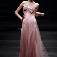 A-line Strapless Tulle Floor-length Pink Bow Evening Dress at dressestore.co.uk