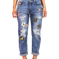 Varsity Boyfriend Jeans | Trendy Jeans at Pink Ice