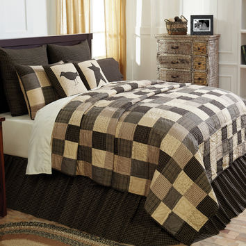 Kettle Grove - King - 9-pc Deluxe Patchwork Quilt Set - Crow & Star - Country Plaid - 100% Hand-quilted Cotton - Primitive Rustic - Extra Long!