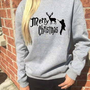 Harry Potter Christmas sweater Christmas gift reindee xmas sweatshirt hogwarts magic. Black or glitter red print