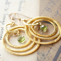 Gold Hoop Earrings  Forest green peridot by OhKuol on Etsy