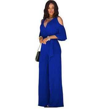 V-neck Overalls jumpsuits Loose Jumpsuits for Women Rompers Jumpsuits Lady Club Plus Size Female Vestidos FC61