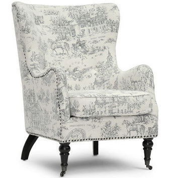 Livingston Beige Linen Accent Chair with Colonial Print