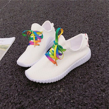 2016 Fashion Leisure Solid Colored Colored laces sports shoes