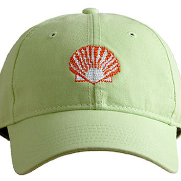 Scallop Needlepoint Hat, Lime, Hats