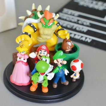 Super Mario party nes switch  Bros Bowser Princess Peach Yoshi Luigi Toad Goomba PVC Figure Collectible Model Toy AT_80_8