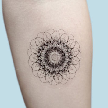 Mandala Temporary Tattoo, Mandala Art, Large Temporary Tattoo, Buddhism, Temporary Tattoo Geometric, Gift For Her, Hippie Art Gift For Women