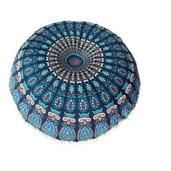 80*80cm Large Mandala Floor Pillows Round  Cushion Cover