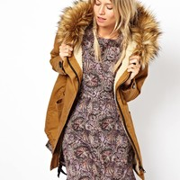 ASOS Cocoon Parka With Oversized Faux Fur Trim Hood - Khaki $68.55