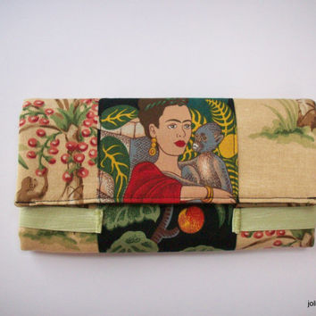 Frida in the Garden with Monkey Friends Tan and Black Fashion Bifold Wide Women's Cotton Wallet