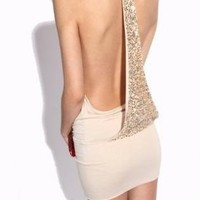Apricot Sexy Krazy Backless Sequined Dress For Women