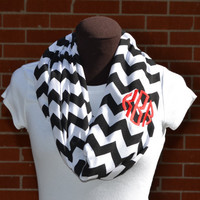 Monogrammed Black & White Chevron Infinity Scarf Knit Jersey
